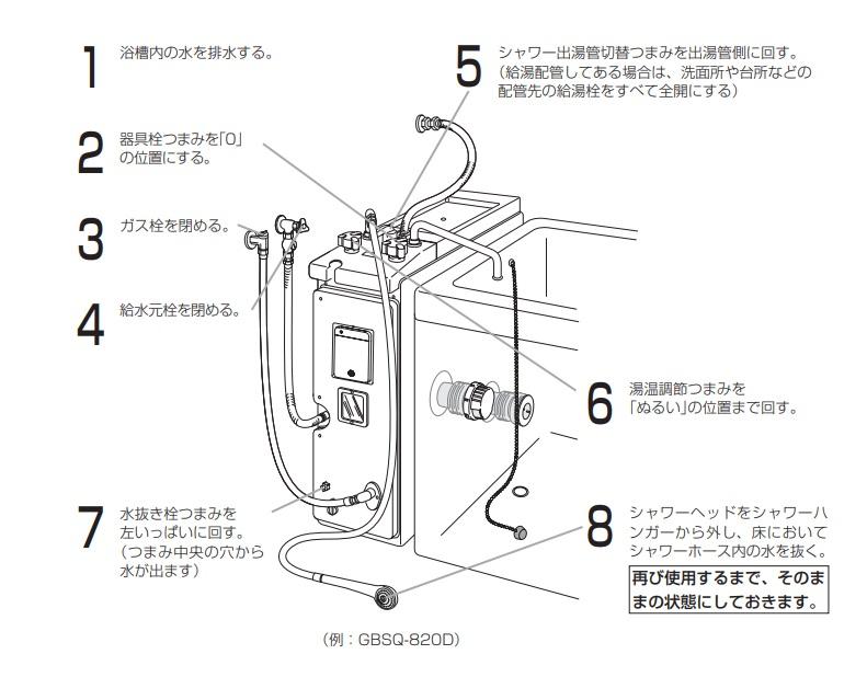 ノーリツ - GBSQ-820D水抜き方法