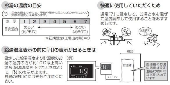 給湯温度表示の前にHの表示